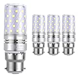 HzSane B22 LED Corn Bulbs 12W, 100W Incandescent Bulbs Equivalent, 6000K Daylight White, 1200Lm, B22 Bayonet Cap LED Light Bulbs, Non-Dimmable, 4-Pack