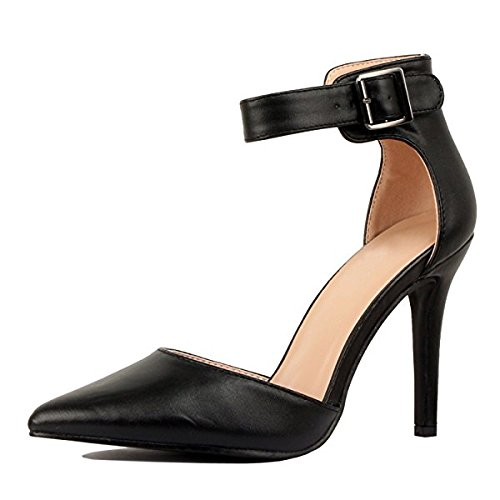 Women's Ankle Strap Stiletto Pumps Pointed Toe Dress D'Orsay High Heel Summer Wedding PU Shoes Black 6