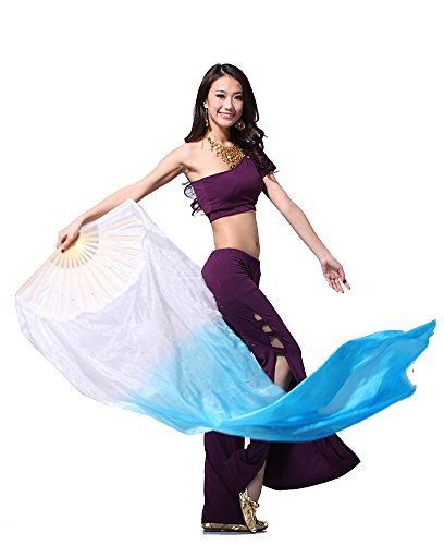 [Belly Dance Accessories Simulation Silk 3-color Fan Veil Costume white-light blue] (Dance Fans Costumes Accessories)