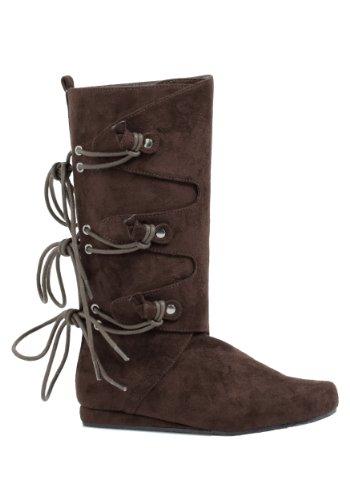 Girls Forest Brown Kids Flat Boots sz Large - Renaissance Microfiber Boot