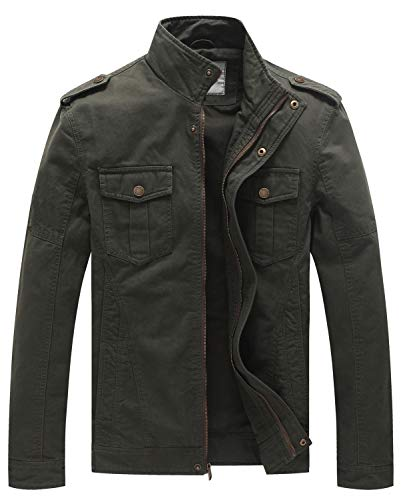 WenVen Men's Casual Washed Cotton Military Jacket 1