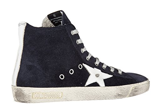 Golden Goose chaussures baskets sneakers hautes homme en daim francy blu
