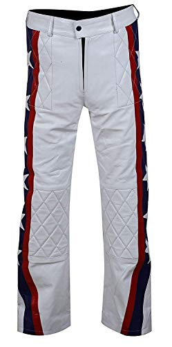 Men's Daredevil Evel Knievel White Moto Biker Faux Leather Costume Pant M (Please Check Size Chart) ()