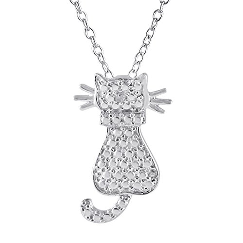 e Diamond Accent Cat Pendant Necklace (Diamond Accent Cat Pendant)