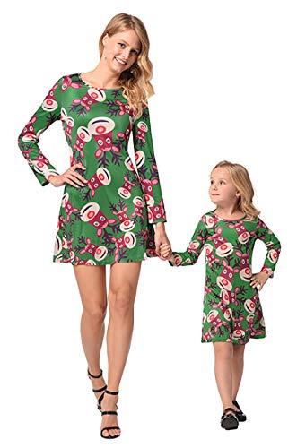 Mother Daughter Dresses Family Matching Set Christmas Tee Shirt Swing Dress Outfits Green 100CM ()