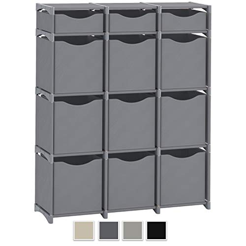 Neaterize 12 Cube Organizer | Set of Storage Cubes Included | DIY Cubby Organizer Bins | Cube Shelves Ladder Storage Unit Shelf | Closet Organizer for Bedroom, Playroom, Livingroom, Office (Grey)