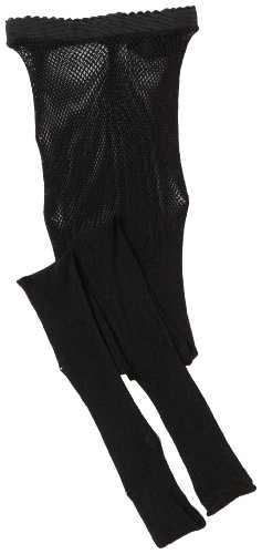 Capezio Big Girls' Studio Basics Fishnet Seamless Tight,Black,One Size