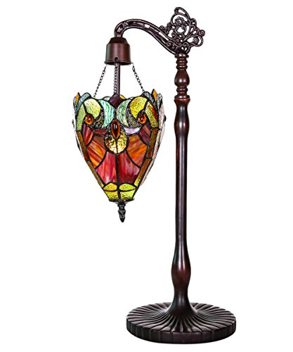 River of Goods 22.75-Inch Tiffany Style Stained Glass Halston Sidearm Pendant Table Lamp, Spice