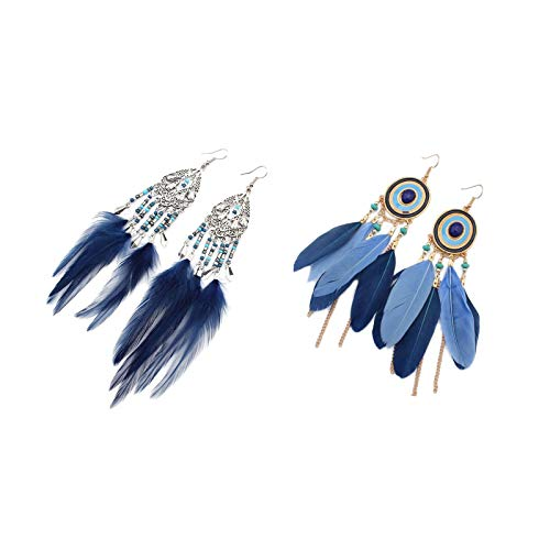 - Beauty7 Assorted Mixed 2 Pairs Set Women Bohemian Retro Style Dream Catcher Feather Statement Long Mini Turquoise Beads Chain Tassels Dangle Drop Earrings Fish Hook End Soiree Daily Wedding Party Blue