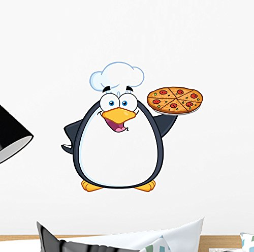 Chef Penguin - Wallmonkeys Chef Penguin Holding Pizza Wall Decal Peel and Stick Graphic (12 in W x 11 in H) WM72453