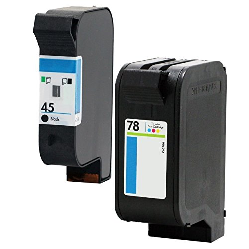 Ouguan Ink 2x (1 Black, 1 Tri-Color) Compatible For HP 45 78 Ink Cartridge 78A 45A 51645A C6578A For Deskjet 1120c 1125c 1180c 1220c 1280 1600c 6122 9300 930c 932c ()