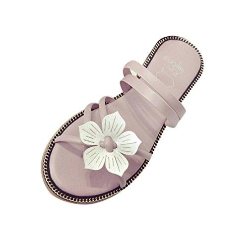 Zolimx Flip Flops Damen Sommer Blumenwebart Strand Peep-Toe Sandalen Rosa