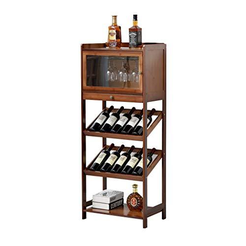 TJ Wine Rack Bamboo Wine Rack Wine Storage Holder Display Shelves for Storing Bottles at Home 10 Bottle Wine Rack Free Standing Floor 6 Glasses with Drawer Shelf Cup Holder