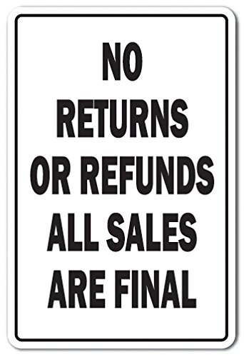 NO RETURNS OR REFUNDS Sign shopping store policy parking | Indoor/Outdoor | 12