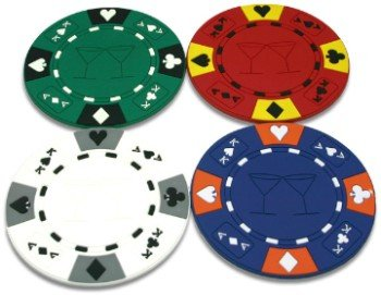 POKER CHIP COASTERS DOZEN BULK