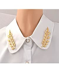 Brawdress 2Pcs/Kit Jewellery Couples | Gold-Plating Leaf Brooch Collar Pin - Suit Tie Pin Clip - Hat Scarf Brooch 6 2cm