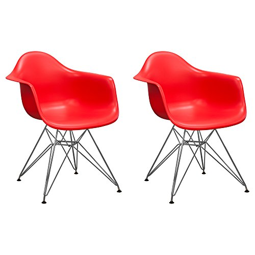 Mod Made Mid Century Modern Paris Tower Dining Arm Chair Chrome Leg, Red, Set of 2