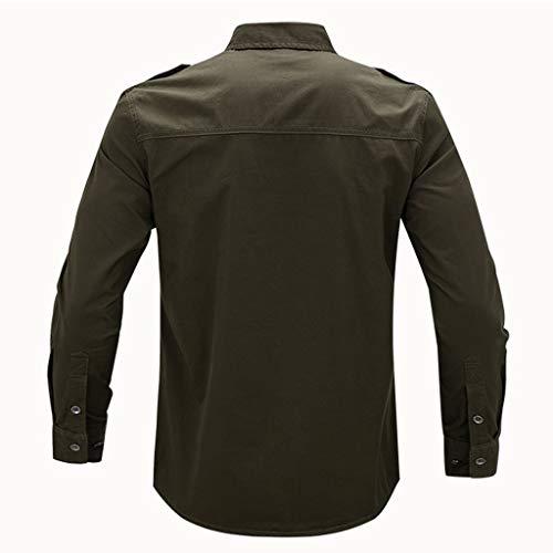 Manadlian Boutonnée Basic À Loisirs Shirt Décontractée Slim Armée Verte Manches Longues Business Chemise Outillage Tops FitTaille M5xl 5RA4jL
