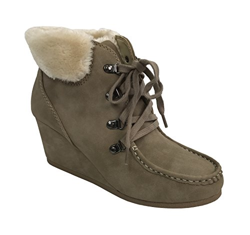 City Classified Women's Fur Cuff Ankle Bootie Wedge Lace Up Eyelets Warm Boot, Taupe, 7 - Suede & Faux Fur Boot
