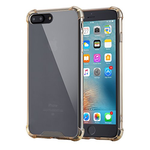 KINCS iPhone 7 Plus Case, iPhone 8 Plus Case, Crystal Clear Shock Absorption Bumper Soft TPU Case (Gold)
