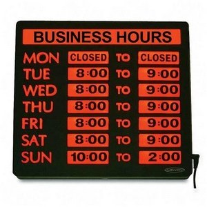 """UPC 010736044841, Lighted Business Hour Sign, 13""""x13 1/4""""x1-1/4"""", Black (USS4484) Category: Retail Signs and Lighting"""