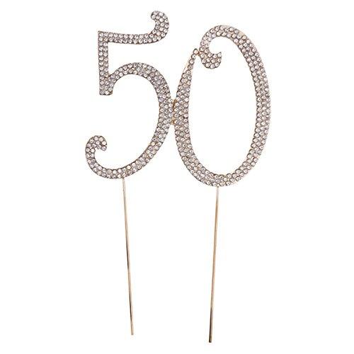 Toyvian 50. ° Cake Topper para la 50.a Fiesta de cumpleanos o Aniversario Crystal Rhinestones - Cake Topper Decorativo para articulos de Fiesta