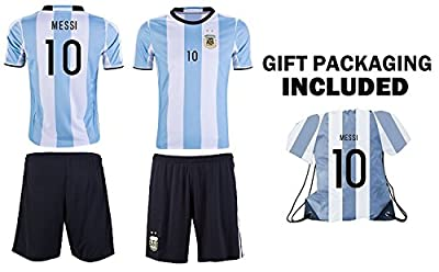 2018 Argentina Messi #10 Kids Youth Soccer Gift Set ? Soccer Jersey ? Shorts ? Jersey Drawstring Bag ? Home or Away ? Short Sleeve or Long Sleeve