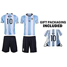 JerzeHero Argentina Messi #10 Kids Youth Soccer Gift Set ✓ Soccer Jersey ✓ Shorts ✓ Jersey Drawstring Bag ✓ Home or Away ✓ Short Sleeve or Long Sleeve