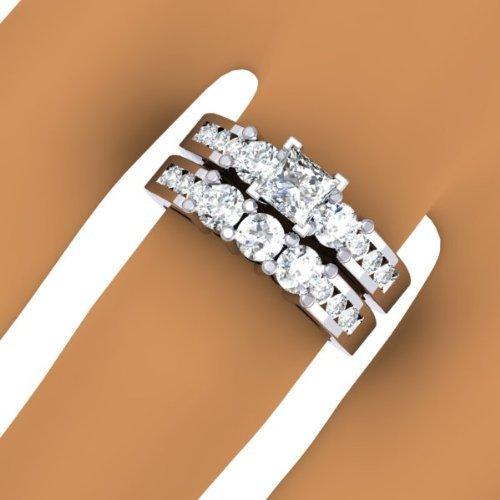 1.90 Carat (ctw) 14K White Gold Princess & Round Diamond 3 Stone Bridal Engagement Ring Set
