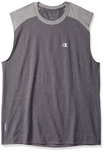- Champion Men's Double Dry Cotton Muscle Tee, Granite Heather/Oxford Gray, Medium