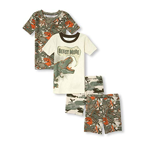 The Children's Place Boys' Big Top and Shorts 4-Piece Pajama Set, Heather/t Vanilla, 6]()