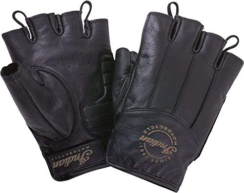 Indian Motorcycle Men's Leather Fingerless Gloves, Black - M