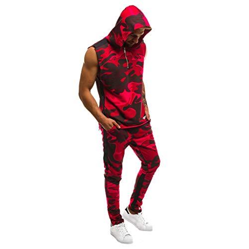 Men Tracksuit Set, Limsea Camo Sweat Suit Short Sleeve Jogger Slim Fit Hoodies Bottoms Pants Trousers