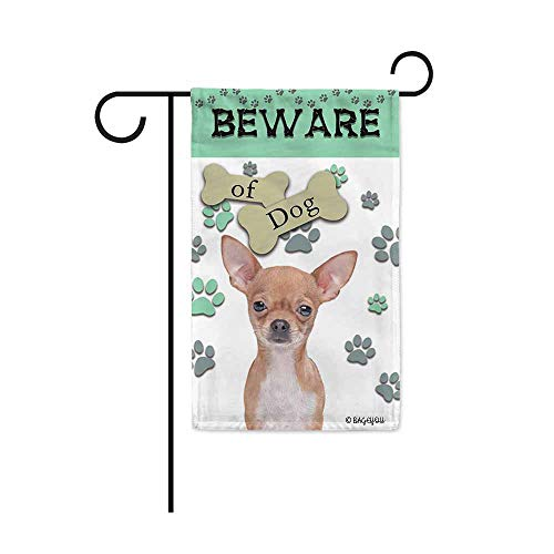 Chihuahua Garden Flag - BAGEYOU Beware of Dog Chihuahua Decorative Garden Flag Puppy Paws Bone Home Decor Yard Banner for Outside 12.5X18 Inch Printed Double Sided