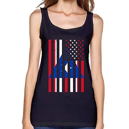 Womens Puerto Rico America Flag Sexy Basics T-Shirt Summer Blank Tank Top by COSJIg8