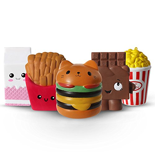 ThinkMax 5 Jumbo Squishies, Hamburger Fries Popcorn Milk Chocolate Slow Rising Toys, Kawaii Food Stress Reliver Soft Squeeze Toy for Kids and Adults