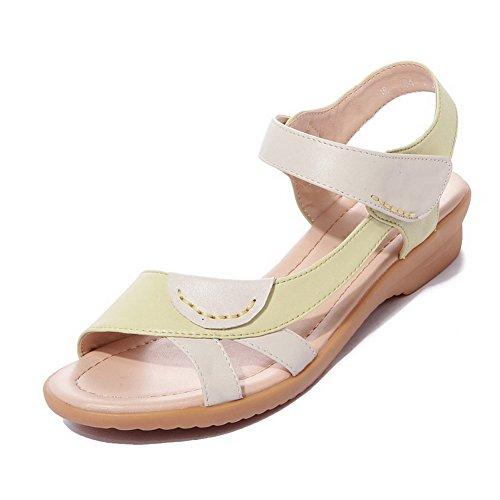 AllhqFashion Mujeres Mini tacón Material Suave Colores Surtidos Velcro Puntera Abierta Sandalia Amarillo