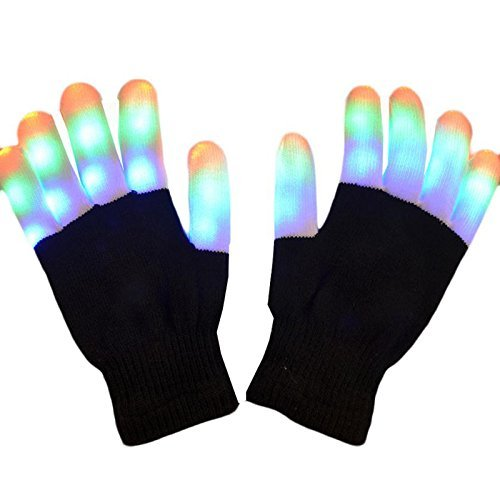 LED Colorful Rave Gloves,Magnolian Flashing Finger Lighting Gloves with 6 Modes & Replaceable Batteries Perfect for Raves,Parties,Christmas,Halloween,Clubbing,Disco Light-up Toys and Christmas Gift