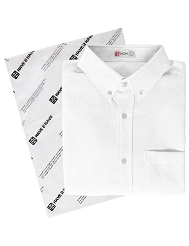 H2H Men's Solid Color 100% Cotton Oxford Long Sleeve Button Down Casual Shirt White US L/Asia XL (KMTSTL0521) by H2H (Image #6)