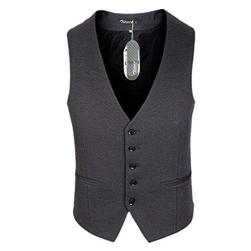 Zicac Men's Top Designed Slim Fit Dress Vest Waistcoat, Grey, Small