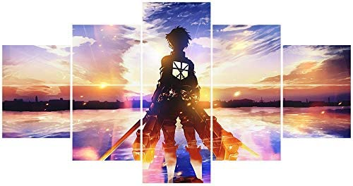 Jackethings Japanese Anime Attack On Titan Poster Prints on Canvas Wooden Framed Wall Art