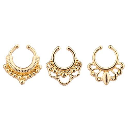 Lux Accessories Simple & Elegant Trio 3 Pack Septum Faux Nose Rings