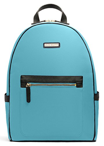 """Archer Brighton Cara Laptop Backpack, Women's 13"""" Business Travel Leather Canvas Multipurpose Backpack (Light Blue) by Archer Brighton"""