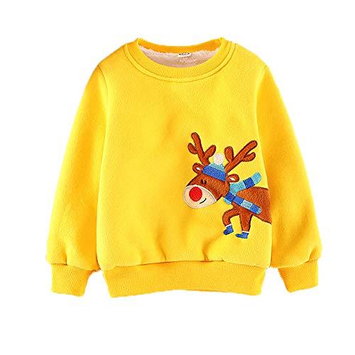 MARTHA BEAR Baby Boys Fleece Fashion Hoodies & Sweatshirts Cotton Sports 2-6year (2T(90), Yellow)
