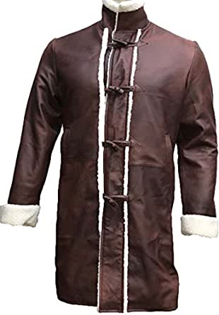 Charlie Legend King Brown Fur Trench Hunnam Sword Arthur Leather Coat (Small)