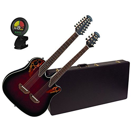 Ovation CSE225-RRB Double Neck Celebrity Ruby Red Acoustic Guitar w/Case and Tuner (Best Double Neck Guitar)