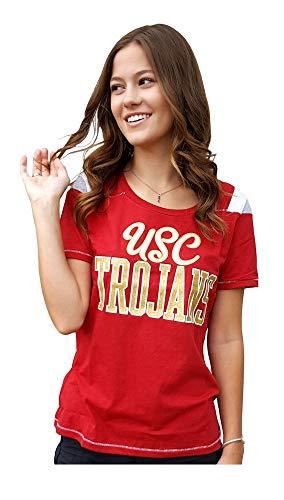 Ladies Southern Cal Trojans Flapper Glitter Crewneck T Shirt by 289c (Small) ()