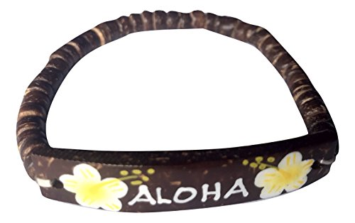 Hawaiian Coconut Hand Painted Flower Bracelet (Aloha Yellow Flower) - Aloha Bracelet