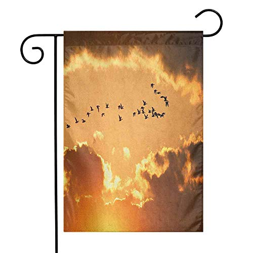 duommhome Birds Garden Flag A Flock of Migratory Canadian Geese Flying at Sunset Cloudy Sky Monochromic Art Premium Material W12 x L18 Brown Yellow