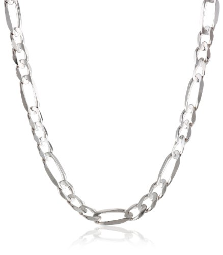 Men's 14k White Gold Figaro Chain Necklace, 26'' by Amazon Collection